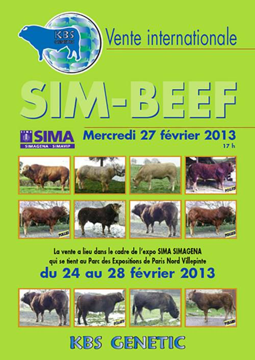 Catalogue for SIM BEEF Sale at Paris Show (27th of February)